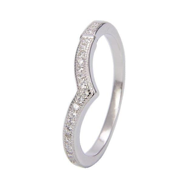 """Двоен сребърен пръстен """"Стил и Блясък"""" с кубичен цирконий - самостоятелна снимка на едната част от пръстена"""