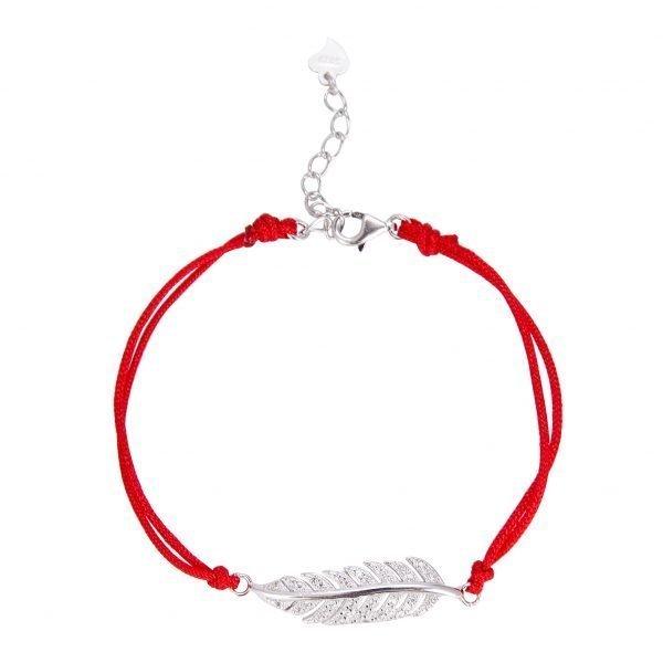 "Red thread bracelet ""Free Spirit"" with silver cubic zirconia element"