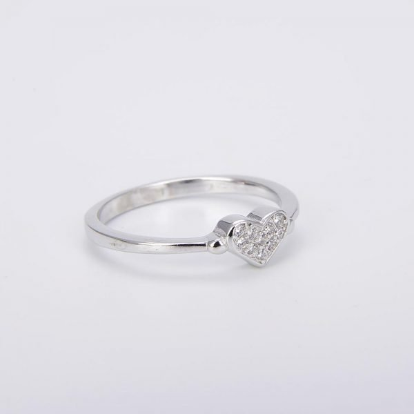 """Silver ring """"Love"""" with cubic zirconia - photo at an angle in horizontal position"""