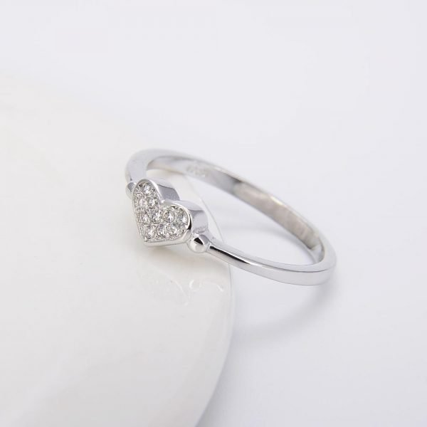 """Silver ring """"Love"""" with cubic zirconia - photo at an angle"""