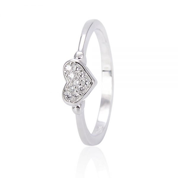 """Silver ring """"Love"""" with cubic zirconia - frontal photo with focus on the ring stone on a white background"""