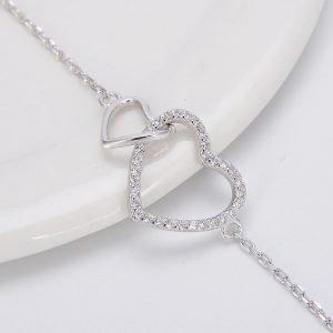 """Сребърна гривна """"Две Сърца – Едно Цяло"""""""