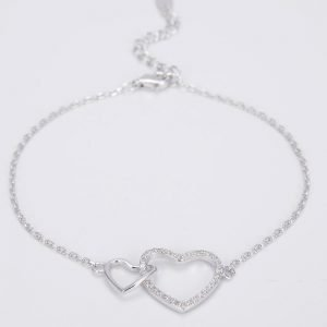 "Silver bracelet ""Two Hearts - One Whole"""