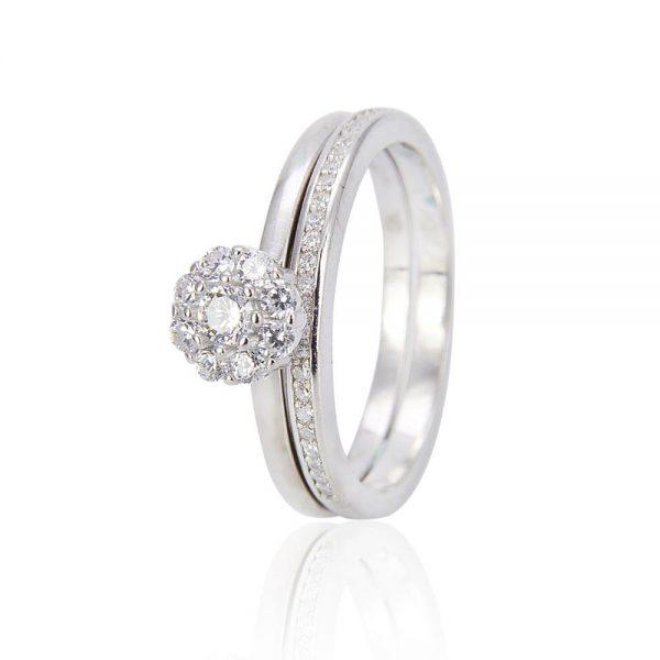 двоен сребърен пръстен с кубичен цирконий