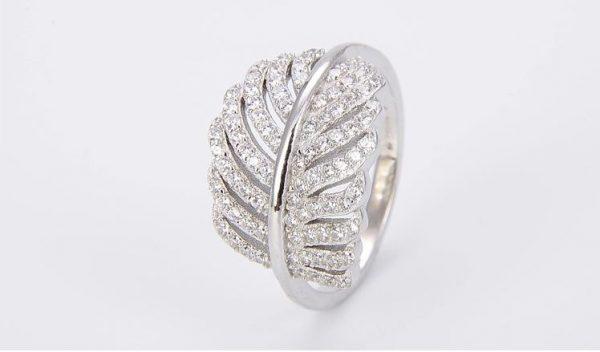 пръстен от сребро 925 с листо