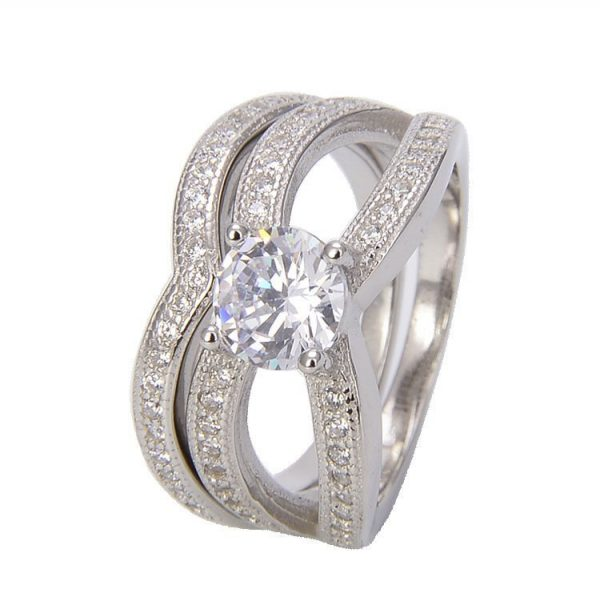 double ring with cubic zirconia stone