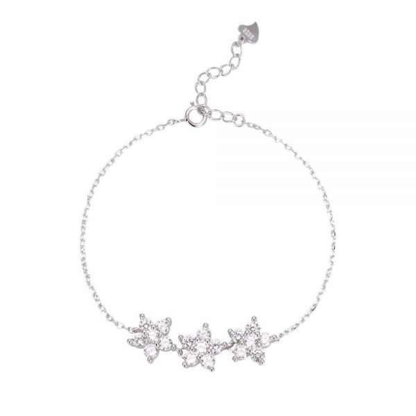 """silver bracelet """"Flowers"""" with three silver cubic zirconia pendants for 36lv."""