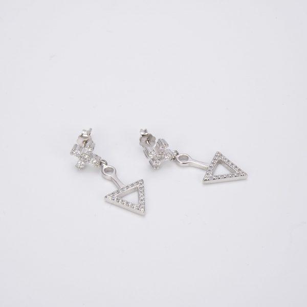 сребърни обици с кубчен цирконий триъгълник и кръст на цена от четиридесет и пет лева