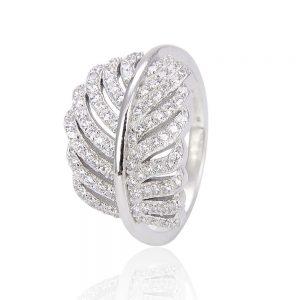 сребърен пръстен листо