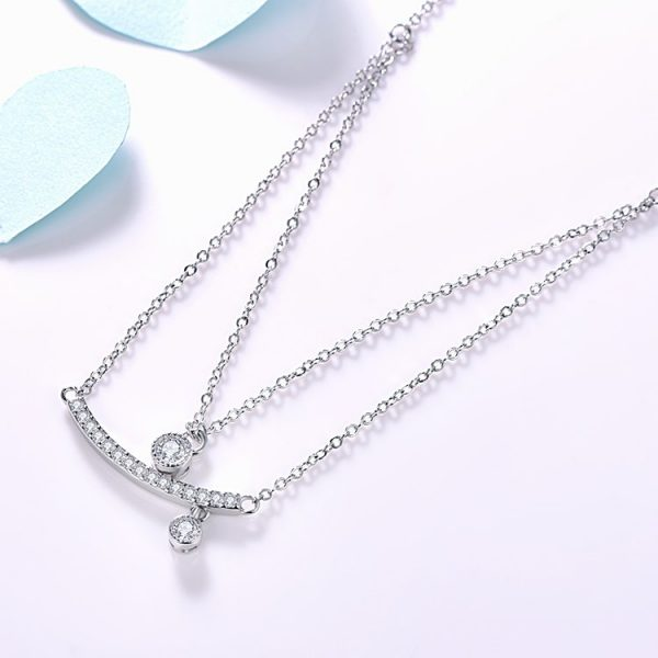 "double silver necklace ""Beautiful Moments"" with cubic zirconia pendant for 48lv."