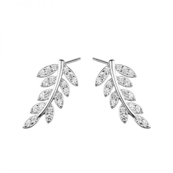 pair of silver earrings in the shape of a leaf covered with cubic zirconia stones