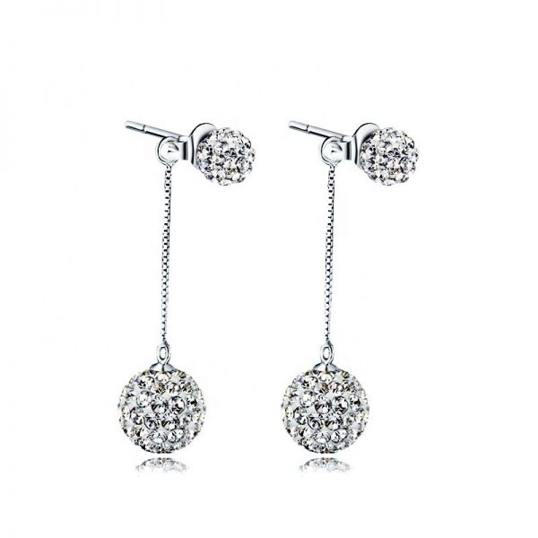 hanging silver earrings with cubic zirconia stones on white background