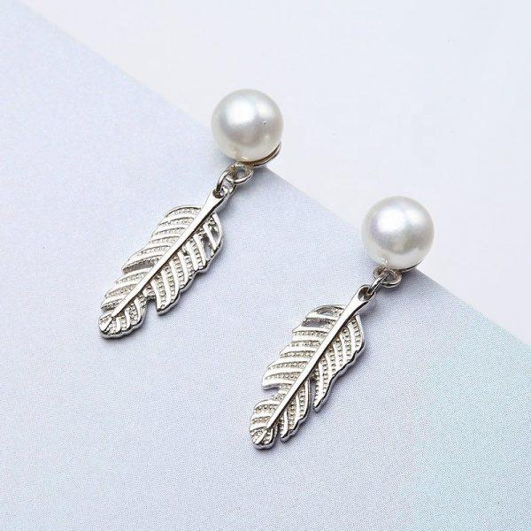 сребърни обеци с перла във формата на листо