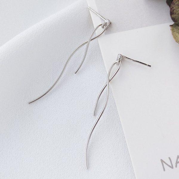 висящи сребърни обеци с кубичен цирконий за жена