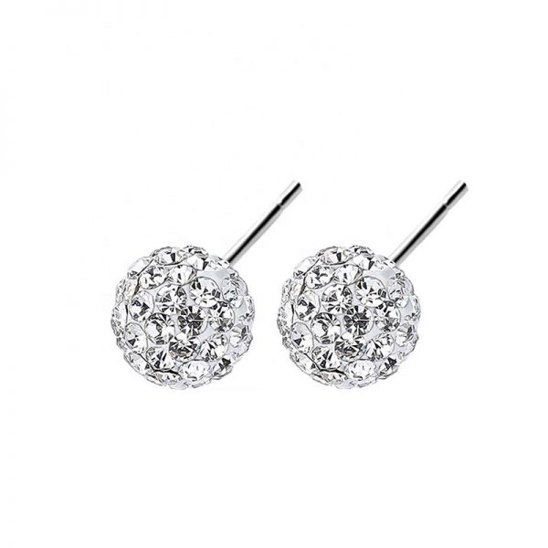 women silver stud earrings with cubic zirconia on white background