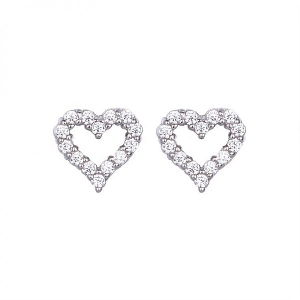 silver earrings in the shape of a heart and cubic zirconia stones photographed on a white background