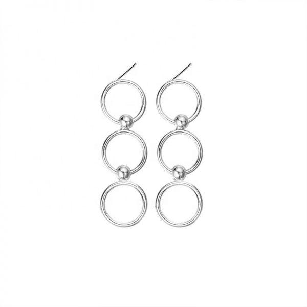 висящи сребърни обеци от сребро 925 във формата на кръгове