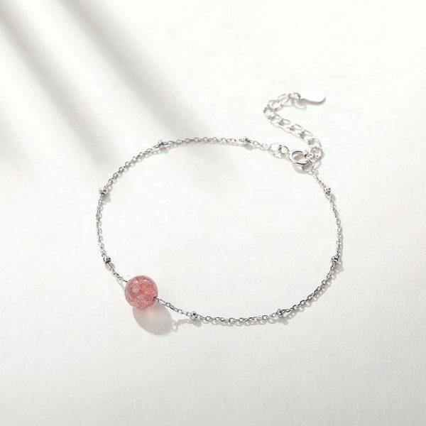 сребърна гривна с розов кристал центрлано