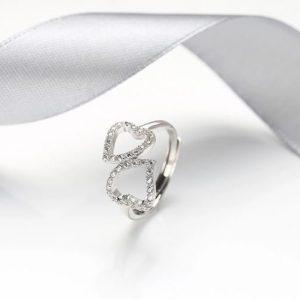 """Сребърен пръстен """"Две Сърца"""""""