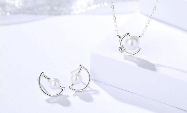 сребърен комплект от колие и обеци с перла
