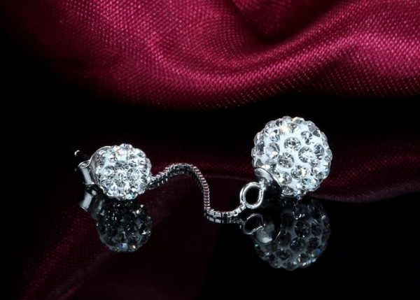 hanging silver earring with cubic zirconia stones