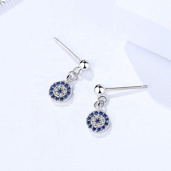 висящи сребърни обеци с кубичен цирконий и синя разцветка