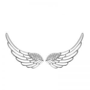 сребърни обеци във формата на криле на бял фон