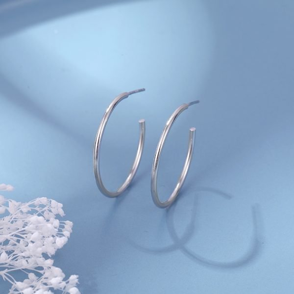 silver rings earrings made of metal 925 silver type rings photographed on blue background with white coloring