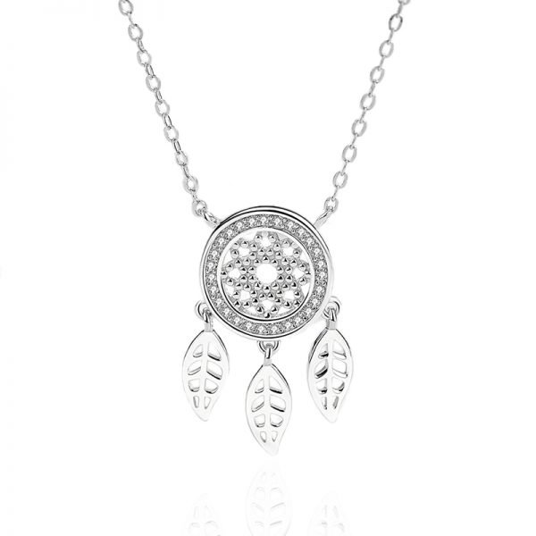 dream catcher necklace 925 silver and cubic zirconia