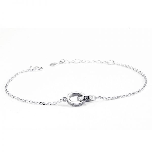 silver bracelet two circles in one piece on white background