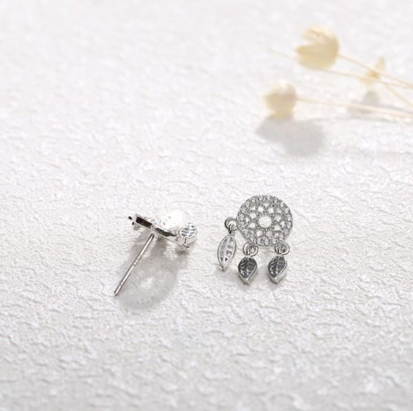 dream catcher silver earrings with cubic zirconia and feathers