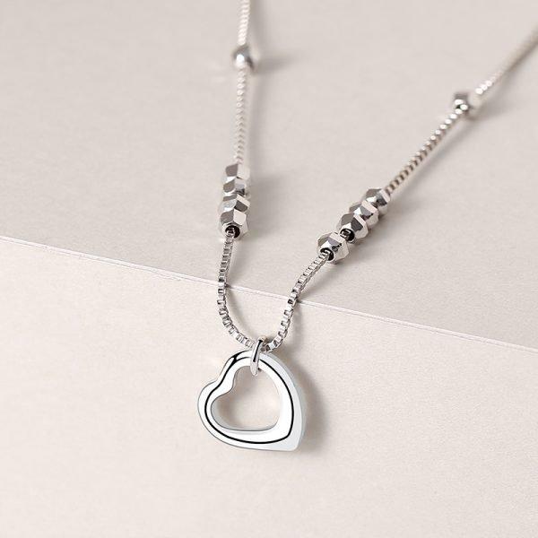гривна за крак мънисто сърце сребро