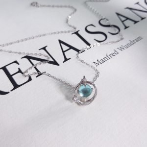 "Silver necklace ""Blue Planet"""