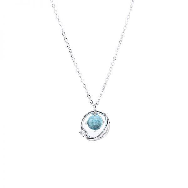silver necklace blue planet