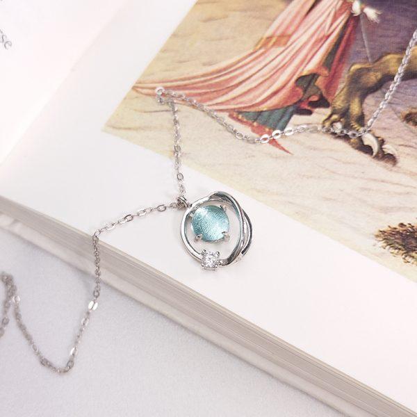 necklace planet silver 925 blue