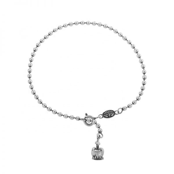 silver bead bracelet with crown thai style silver 925