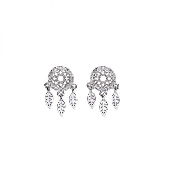 silver earrings with cubic zirconia dream catcher