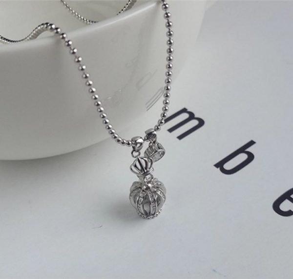 колие сребро 925 корона верижка мънисто
