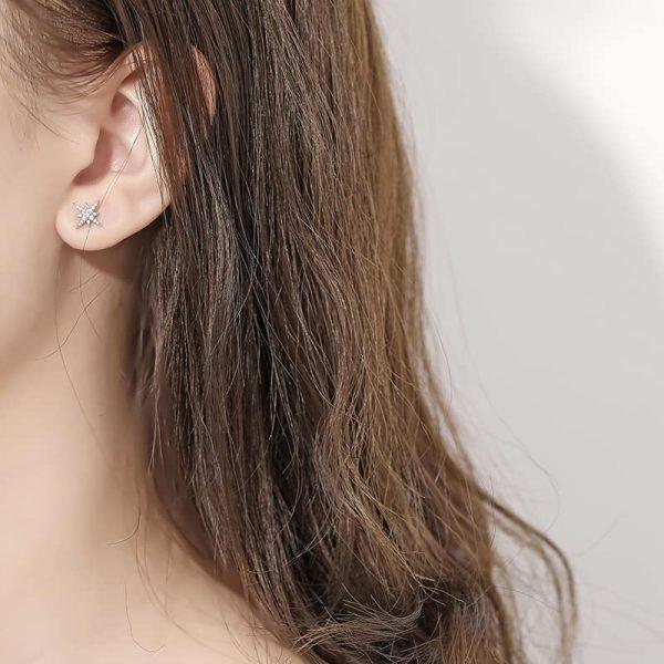 обеци скреж сребро 925 на женско ухо