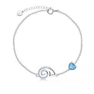 сребърна гривна овен син камък кубичен цирконий зодиакални