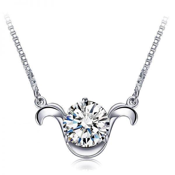 silver ram zodiac necklace