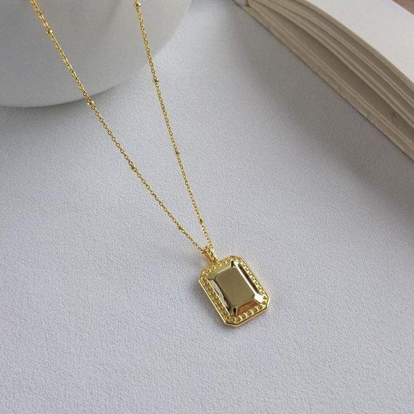 колие сребро златна плоча