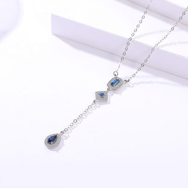silver necklace blue cubic zirconia stones