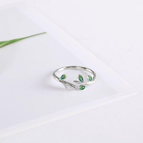 пръстен сребро зелени листа