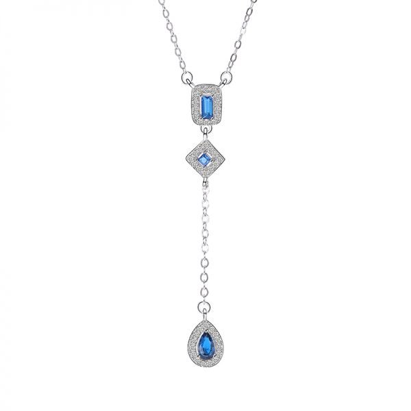 hanging silver necklace blue tear