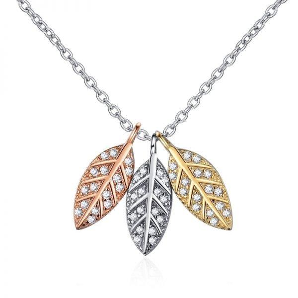сребърно колие с три листа сребро злато и розово злато