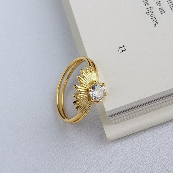 silver force ring with gold plating 18k