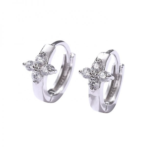 silver flower earrings photographed centrally on white background