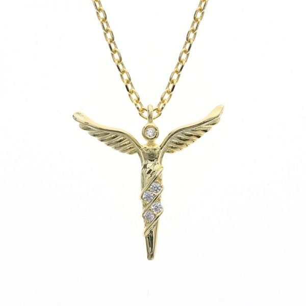 silver necklace gold wings