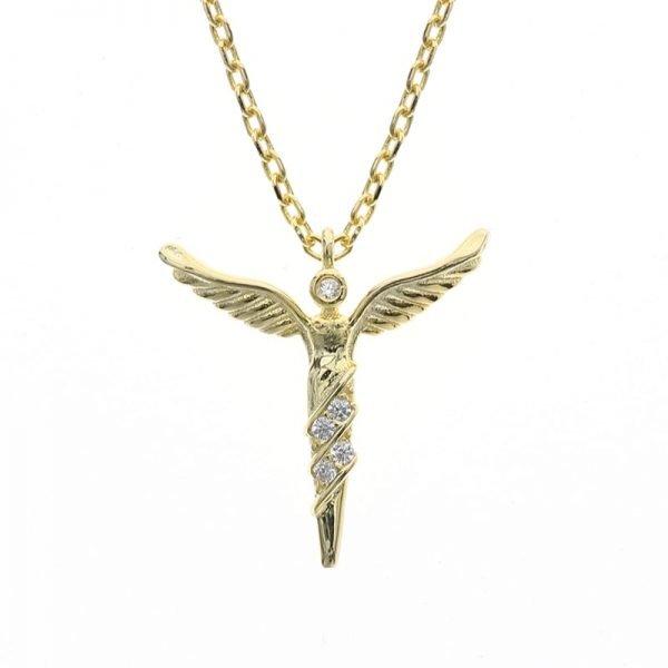сребърно колие златни криле